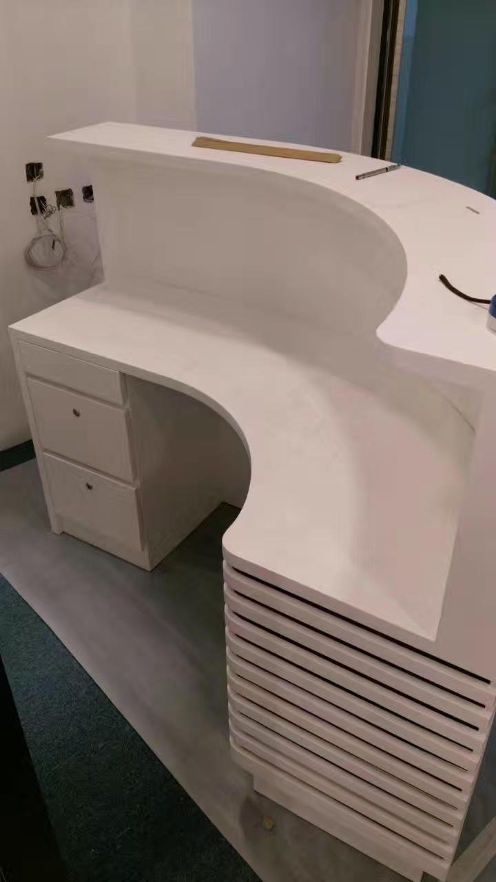 White Curved Semi Circle Round Reception Desk