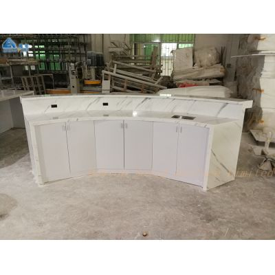 Curved design,pure white finishing,small reception